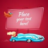 De sexy jonge dame drijft een blauwe auto Stock Foto