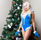 De sexy jonge vrouw van het sneeuwmeisje bij de Kerstboom Nieuw jaar Stock Afbeeldingen