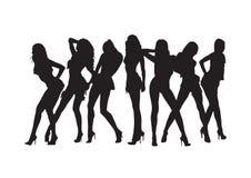 De sexy meisjes silhouetteren. Royalty-vrije Stock Afbeelding