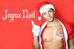 De sexy mens kleedde zich in Kerstmis Royalty-vrije Stock Foto