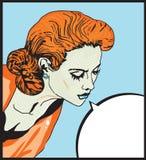 De sexy Retro illustratie van de vrouwen Grappige Liefde van Pop-artmeisje met de toespraakbel Stock Fotografie