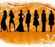 De sexy vector van silhouettenvrouwen Royalty-vrije Stock Foto's