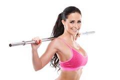 De sexy vrouw die van Nice training met grote retoucheerde domoor doen, Royalty-vrije Stock Foto's
