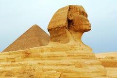 De Sfinx en de Piramides Stock Foto