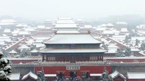 De Shenwu-poort van de verboden stad in sneeuw Royalty-vrije Stock Afbeelding