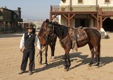 De Sheriff en de paarden van de cowboy Stock Fotografie