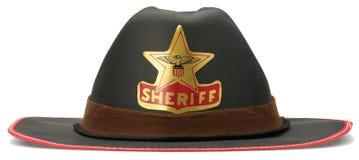 De sheriffcowboy die van kinderen omhoog hoed op whit kleedt Royalty-vrije Stock Fotografie