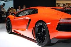 De Show van de Motor van Genève 2011 â Lamborghini Aventador Stock Fotografie