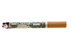 De sigaret van het geld Stock Afbeeldingen