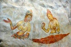 De Sigiriya-Fresko's, Dambulla, Sri Lanka Royalty-vrije Stock Afbeelding