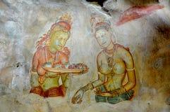 De Sigiriya-Fresko's, Dambulla, Sri Lanka Stock Afbeeldingen