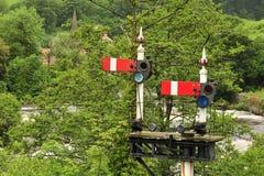 De signalen van de spoorweg, Llangollen, Wales Stock Foto's