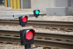 De Signalen van het Spoor van de trein Stock Foto's
