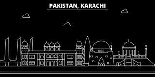 De silhouethorizon van karachi Pakistan - de vectorstad Van karachi, Pakistaanse lineaire architectuur, gebouwen De reis van kara vector illustratie
