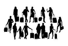 De Silhouetten, het teken en het symbool van reizigersmensen Stock Foto