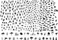 De silhouetten plaatsen 93 vogels 73 fishs 69 mensen 48 ins royalty-vrije illustratie