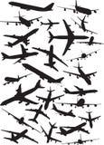 De silhouetten van A340 Stock Afbeelding
