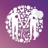 De silhouetten van Adam en van de vooravond, paar in liefde met bloemen en vogels vectorconcept royalty-vrije illustratie