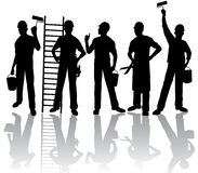 De silhouetten van arbeiders Stock Fotografie
