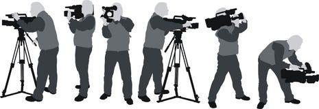 De silhouetten van Cameramans Stock Afbeeldingen