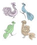 De silhouetten van de ambachtvogels van de tekening Royalty-vrije Stock Foto