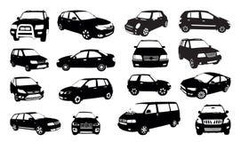 De silhouetten van de auto die op wit worden geïsoleerde Stock Fotografie