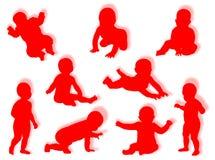 De silhouetten van de baby Royalty-vrije Stock Afbeelding