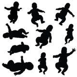 De silhouetten van de baby Stock Afbeeldingen