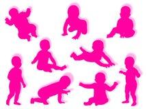 De silhouetten van de baby Royalty-vrije Stock Foto