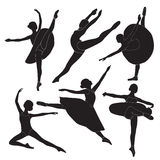 De silhouetten van de ballerina Stock Fotografie