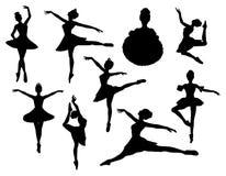 De silhouetten van de ballerina Stock Foto's