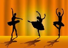 De silhouetten van de ballerina stock illustratie