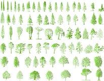 De silhouetten van de boom Stock Afbeeldingen