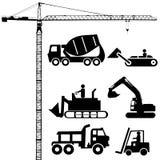 De silhouetten van de bouw Stock Foto's