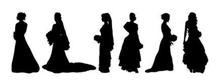 De Silhouetten van de bruid Royalty-vrije Stock Foto's