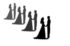 De silhouetten van de bruid en van de bruidegom Stock Afbeeldingen