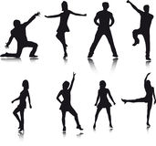 De silhouetten van de danser Royalty-vrije Stock Afbeeldingen