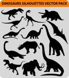 De silhouetten van de dinosaurus Stock Fotografie