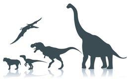 De silhouetten van de dinosaurus Stock Foto