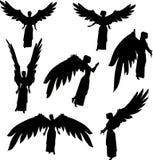 De silhouetten van de engel vector illustratie
