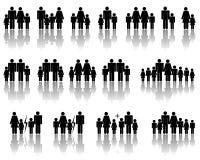 De silhouetten van de familie stock illustratie