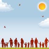 De silhouetten van de familie Stock Afbeeldingen