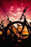 De silhouetten van de fiets Royalty-vrije Stock Foto's