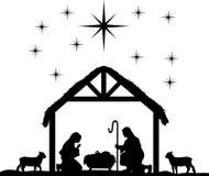 De Silhouetten van de geboorte van Christusscène