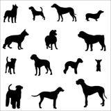 De Silhouetten van de hond Stock Afbeeldingen