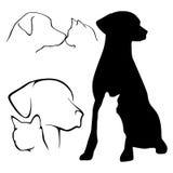 De Silhouetten van de hond en van de Kat Royalty-vrije Stock Foto's