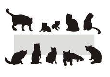 De silhouetten van de kat Stock Afbeeldingen