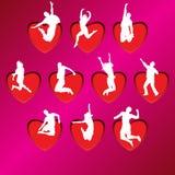 De silhouetten van de liefde Royalty-vrije Stock Afbeeldingen
