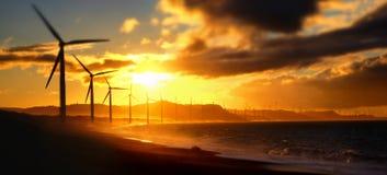 De silhouetten van de machtsgenerators van de windturbine bij oceaankustlijn Stock Foto