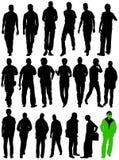 De silhouetten van de mens in zich het bewegen Stock Afbeeldingen